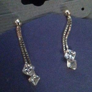 2 Sterling box chain CZ dangle earrings NWT